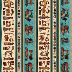 Seamless Batik Decorative Sewing Stripe Teal Cotton Fabric