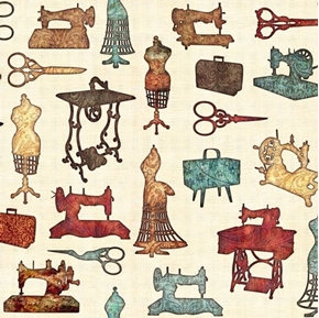 Seamless Sewing Motifs Batik Scissors Machines Cream Cotton Fabric