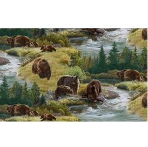 North American Wildlife Bears by the River in Summer Cotton Fabric