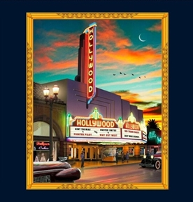 Picture of Artworks VIII Retro Hollywood Movie Marquee 24x22 Fabric Pillow Panel