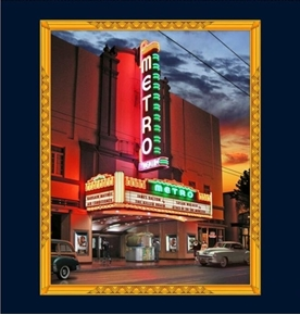 Artworks VIII Retro Metro Movie Marquee 24x22 Fabric Pillow Panel