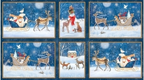 Picture of Woodland Dream Winter Vignette Patches 24x44 Navy Cotton Fabric Panel