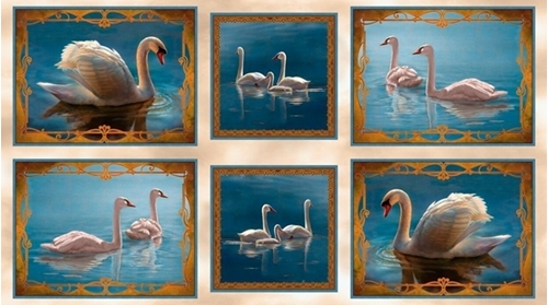 Splendid Swans Picture Patches 24x44 Blue Cotton Fabric Panel