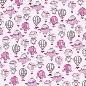 Picture of C'est La Vie Hot Air Balloons in Paris Pink Cotton Fabric