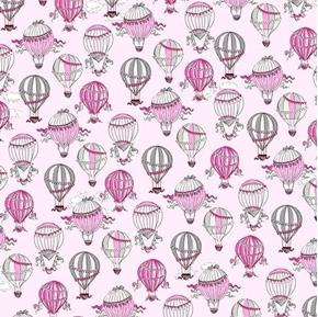 Picture of C'est La Vie Hot Air Balloons in Paris Pink Cotton Fabric