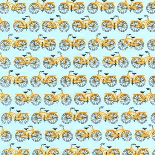 Picture of Everyday Favorites Gold Bicycles Bikes on Sky Blue Cotton Fabric