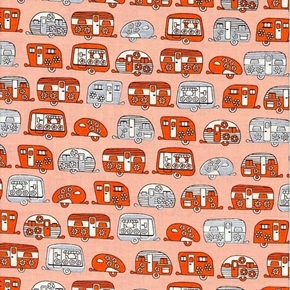 Picture of On The Road Metallic Orange and Silver Campers Cotton Fabric