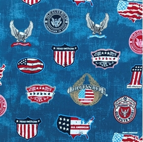 Old Guys Rule Proud American Veteran Patriotic Military Cotton Fabric