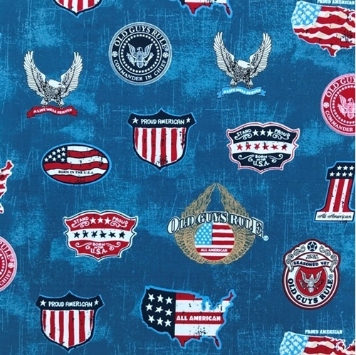Picture of Old Guys Rule Proud American Veteran Patriotic Military Cotton Fabric