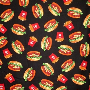 Burgers and Fries Cheeseburger French Fry on Black Cotton Fabric