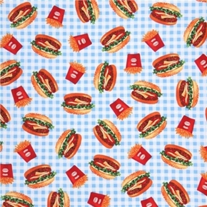 Picture of Burgers and Fries Cheeseburger French Fry Blue Picnic Cotton Fabric