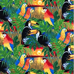 Picture of Wildlife Paradise 2 Toucans Parrots Tropical Birds Cotton Fabric