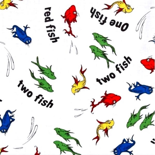 Picture of Dr Seuss One Fish Two Fish Red Fish Blue Fish White Cotton Fabric
