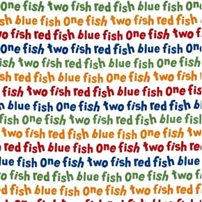 Picture of Dr Seuss One Fish Two Fish Rainbow Storybook Words Cotton Fabric
