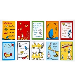 dr seuss one fish two fish storybook block 24x44 cotton fabric panel