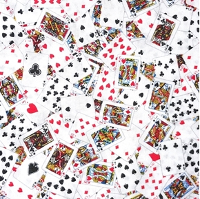 Picture of Playing Cards Hearts Diamonds Clubs Spades Poker Game Cotton Fabric