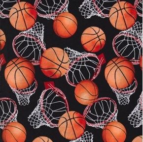Picture of Basketball Hoops and Balls Basketballs on Black Cotton Fabric