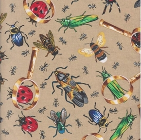 Bugs Allover Insect Study Magnify Glass Ants Bees Brown Cotton Fabric