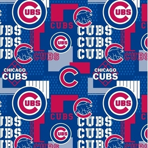 MLB Baseball Chicago Cubs Squares New 2018 Blue 18x29 Cotton Fabric