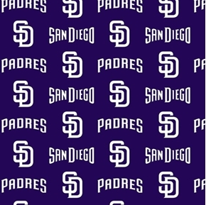 MLB Baseball San Diego Padres 2018 All Blue Design 18x29 Cotton Fabric
