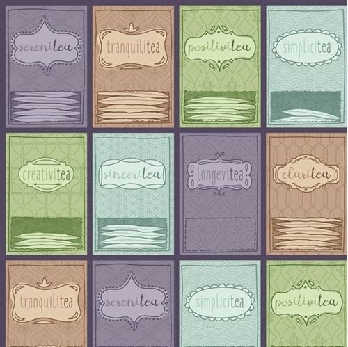 Tea-rrific Tea Packets Set Stacked Teabags Purple Cotton Fabric
