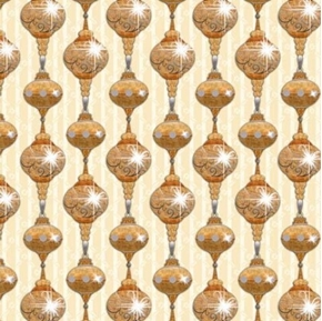 A Golden Holiday Sparkling Ornaments Gold on Cream Cotton Fabric