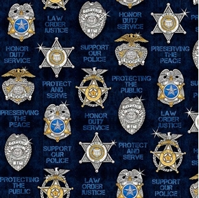 Picture of Protect and Serve Police Badge Shield Star Navy Blue Cotton Fabric