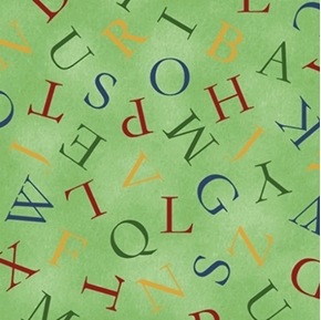 Picture of Hungry Animal Alphabet Toss on Green Cotton Fabric