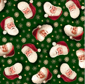 Picture of Christmas Eve Santa Head Toss Gold Metallic Forest Green Cotton Fabric