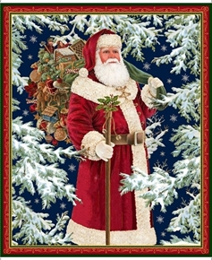 Picture of Christmas Eve Vintage Santa in the Snow Cotton Fabric Panel