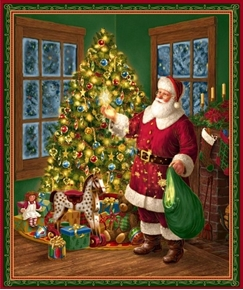 Picture of Christmas Eve Santa and Christmas Tree Cotton Fabric Panel
