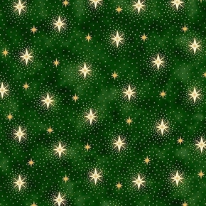 Picture of Miracle in Bethlehem Gold Metallic Sparkling Stars Green Cotton Fabric
