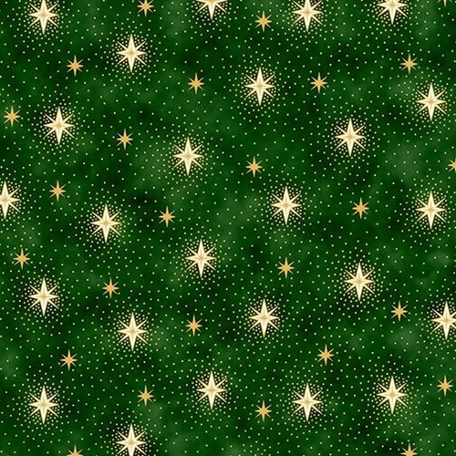 Miracle in Bethlehem Gold Metallic Sparkling Stars Green Cotton Fabric