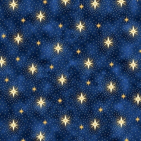 Picture of Miracle in Bethlehem Gold Metallic Sparkling Stars Blue Cotton Fabric