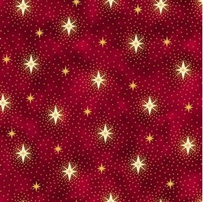 Picture of Miracle in Bethlehem Gold Metallic Sparkling Stars Red Cotton Fabric