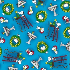 Peace Love Joy Snoopy & Woodstock Christmas Toss Blue Cotton Fabric