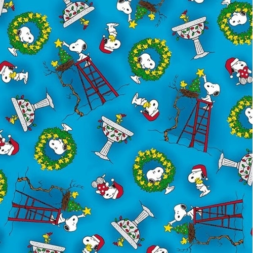 Snoopy And Woodstock Christmas.Peace Love Joy Snoopy Woodstock Christmas Toss Blue Cotton Fabric