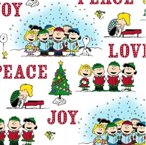 Picture of Peace Love Joy Peanuts Christmas Caroler Vignettes White Cotton Fabric