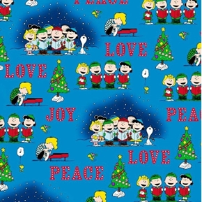 Picture of Peace Love Joy Peanuts Christmas Caroler Vignettes Blue Cotton Fabric