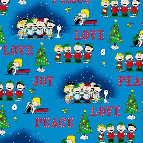 peace love joy peanuts christmas caroler vignettes blue cotton fabric - Peanuts Christmas