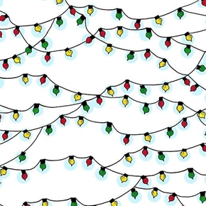 Peace Love Joy Peanuts Christmas Lights on White Cotton Fabric