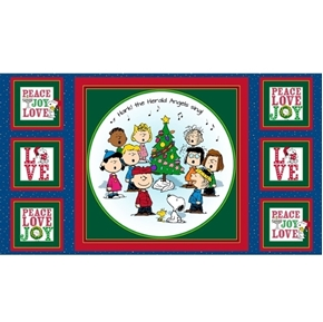 Picture of Peace Love Joy Peanuts Caroling Blue 24x44 Cotton Fabric Panel