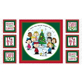 Peace Love Joy Peanuts Caroling White 24x44 Cotton Fabric Panel