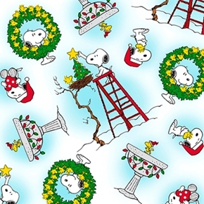 Peace Love Joy Snoopy & Woodstock Christmas Toss White Cotton Fabric