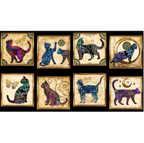 Picture of Purr-suasion Cat Patches Paisley Cats 24x44 Black Cotton Fabric Panel