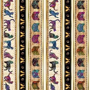 Purr-suasion Cat Decorative Stripe Paisley Cats Cotton Fabric