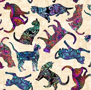 Purr-suasion Tossed Cats Decorative Paisley Cat Cream Cotton Fabric