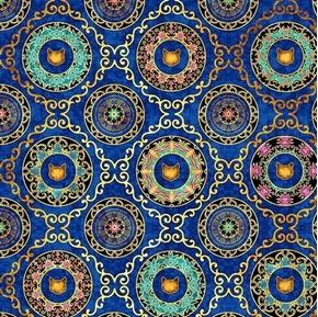 Purr-suasion Cat Diamond Paisley Medallions Royal Blue Cotton Fabric