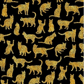 Purr-suasion Cat Silhouettes Paisley Gold Cats on Black Cotton Fabric