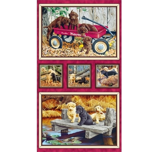 Labrador-able Picture Patch Lab Dog Puppy 24x44 Cotton Fabric Panel